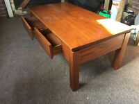 WOODEN COFFEE TABLE WITH TWO DRAWERS