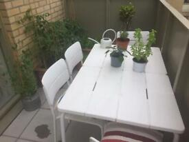 Wooden folding garden table and chairs Ikea Applaro | in