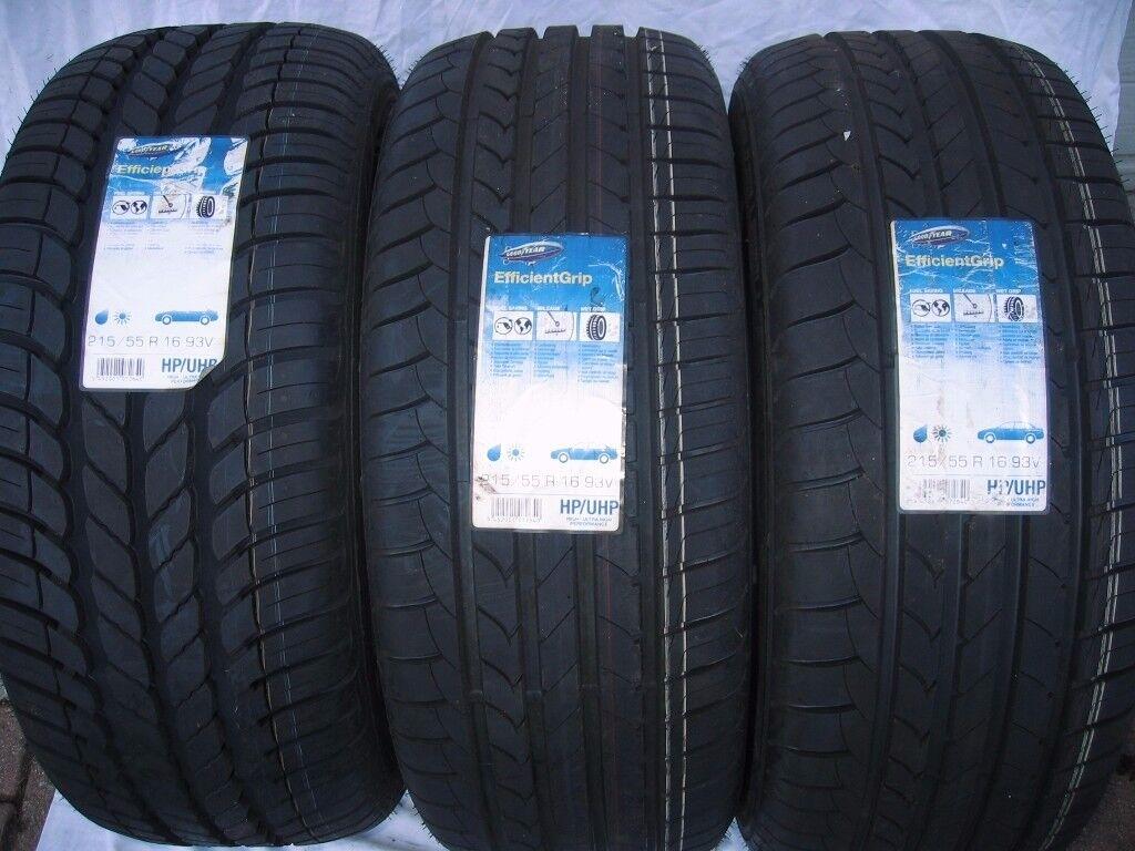 3 x Goodyear EfficentGrip tyres. 215/55 R16 (93V)