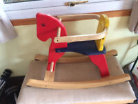 Wooden rocking horse. Very good condition. Hollypark. Tamerton. Plymouth pl54jx.