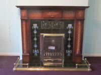 Wooden Fireplace surround, tiled back inset and hearth