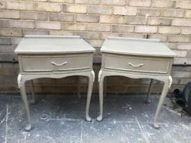 Pair of French style bedsides bedside tables drawers