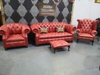 NEW Chesterfield Suite 3 Seater Sofa Wing Back Club Chair Footstool Leather - Uk Delivery