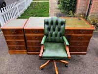 Chesterfield Gainsborough Captains Chair & Large Writing Desk & Filing Cabinet & 2 Keys