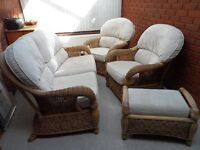 Sofa, 2 arm chairs and storage stool set in high quality bamboo cane