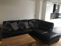 Oak furniture land black leather corner sofa and chair