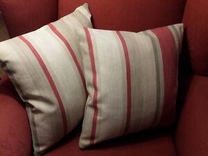 Laura Ashley Awning Stripe Raspberry/Lichen Fabric Cushion Cover Reversible 16