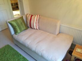 Modern Chaise Longue in beige fabric, Excellent condition