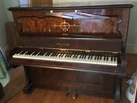 Upright piano, lovely walnut finish, iron frame -collect only liverpool