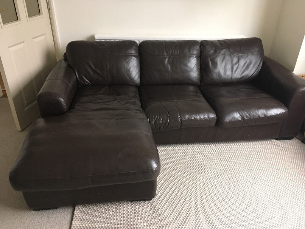 John Lewis Leather 3 Seater Sofa With Chaise Lounge In Rhiwbina  ~ Leather Chaise Lounge Sofa