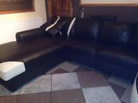 jumbo bonded leather suite, in brown & beige, seats 9+