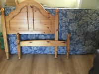 Pine single bed + mattress