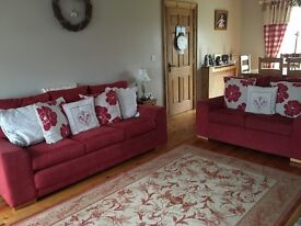 3 + 2 Red Seater Sofa