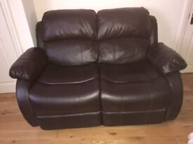 2 seater leather recliner sofa immaculate condition , collection only