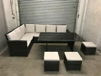 FREE DELIVERY BROWN GARDEN RATTAN CORNER SOFA, GLASS TOP TABLE & STOOLS GOOD CONDITION