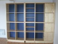 Ikea Billy shelving units with doors