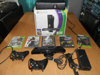 Xbox 360 Kinect 4, includes all cables, controllers and 5 top games, all in excellent condition,