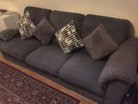 Good condition grey 3-seater fabric sofa: comfortable, clean & includes cushions - Pick up only