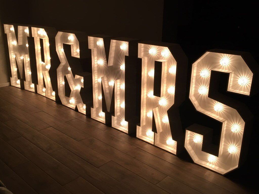 Giant 4ft led letter lights for hire mr mrs love or for Giant letters for wedding