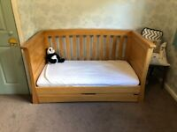 Mamas and Papas solid oak Ocean Cot bed with storage drawer and shelf