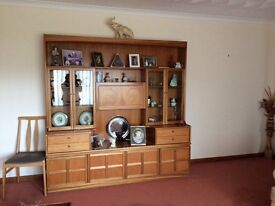 Large teak wall unit / display cabinet immaculate condition