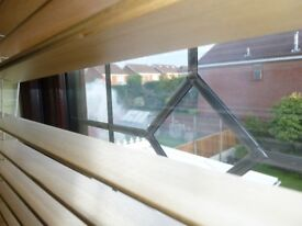 Wooden window blinds width = 1670mm X drop of 975mm, all fitting are available.