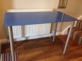 Ikea blue glass top desk