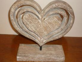 Wood Heart on matching wooden plinth