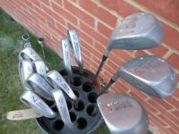 Wilsons golf clubs comprising Woods, Irons, Putter and bag