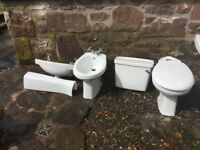 White bathroom suite- toilet& cistern, bidet, sink & pedestal, white acrylic corner bath