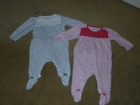 2 x Girls Next Up to 3 months 0-3 months sleepsuits/babygrows