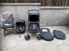 Pram & travel system c/w car seat , bag, water proof cover and other accessories