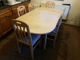 Wood Dining Table With 6 Matching Chairs