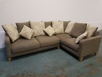 FABRIC CORNER SOFA / LOUNGE SUITE / SETTEE WITH CUSHIONS BEIGE ISH GREY ISH DELIVERY AVAILABLE