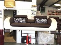 Modern 3 Seater Sofa with Folding Cup Holder Brown and Cream Bonded Leather Headrest Barber Shop