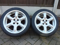 TWO MG WHEELS WITH TYRES - 205/45/16