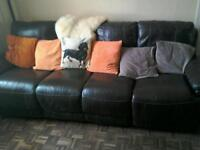 4seater sofa, leather, recliners