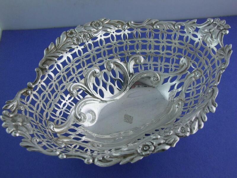 English Sterling Silver pierced Basket LEVI & SALAMAN Birmingham c1898 w/ faces