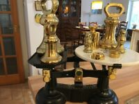 Antique Scales with brass weights included refs to photograph