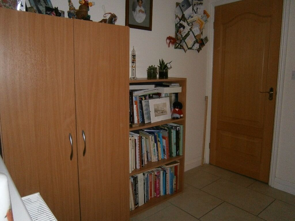 CUPBOARDS X 2, BOOKCASE - GREAT STORAGE AND DESK - ALL MATCHING