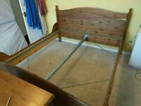 Ex large Super King Wooden Bed with Mattress and Topper