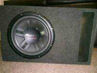 PIONEER SUBWOOFER + 500W PIONEER AMP + PIONEER HEAD UNIT + CUSTOM BOX