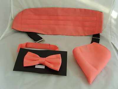 <Top DEAL> Solid Coral-Salmon Polyester Mens Bow Tie + Cummerbund and Hankie Set Poly Hankie