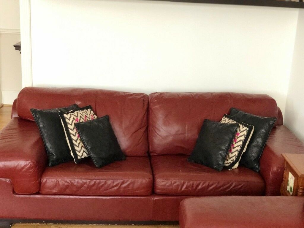Stupendous Italian Leather Sofa 3S Bordeaux Burgundy Red Free In St Machost Co Dining Chair Design Ideas Machostcouk