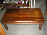 REDUCED-LARGE SHEESHAM WOOD COFFEE TABLE