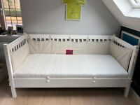 White Wooden Youth Bed (Single+) with Ergonomic Slated Frame and Mattress