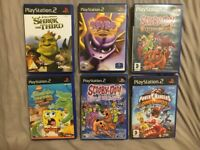 Playstation 2 Games, Spyro, Scooby-doo, Shrek with 3 more, PS2 Game Bundle