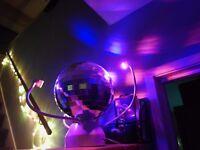 Colour changing LED rotating mirror ball