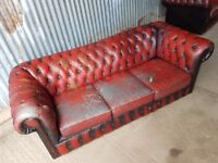 VINTAGE LEATHER CHESTERFIELD 3 SEATER
