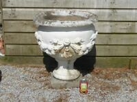 Vintage Large Heavy Cast Stone Garden Planter Garden Pot 66cm Tall (1065)